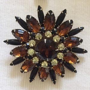 vintage juliana rhinestone starburst brooch pin